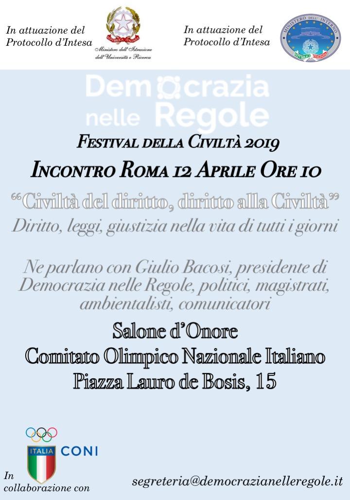 Festival della Civiltà 2019 – In diretta dal Salone d'Onore del CONI (Roma)