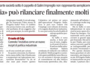 """Giulio Bacosi su """"Il Tempo"""": """"Il Progetto Italia può rilanciare finalmente molti cantieri bloccati"""""""