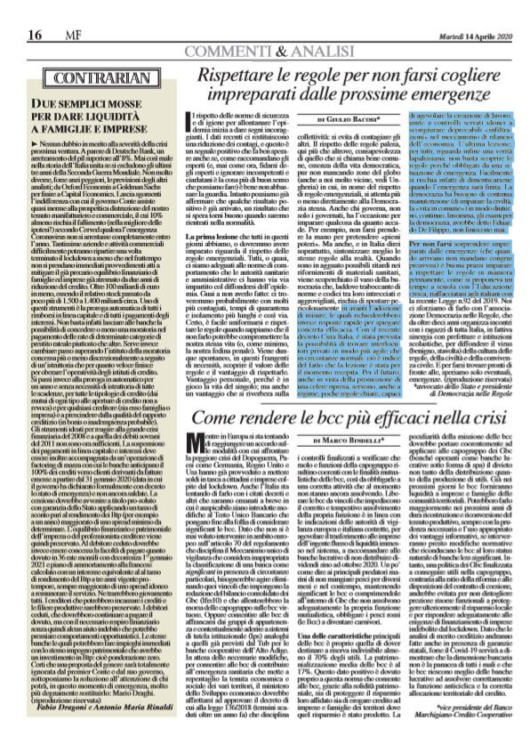 """Giulio Bacosi su MF: """"Rispettare le regole per non farsi trovare impreparati"""""""