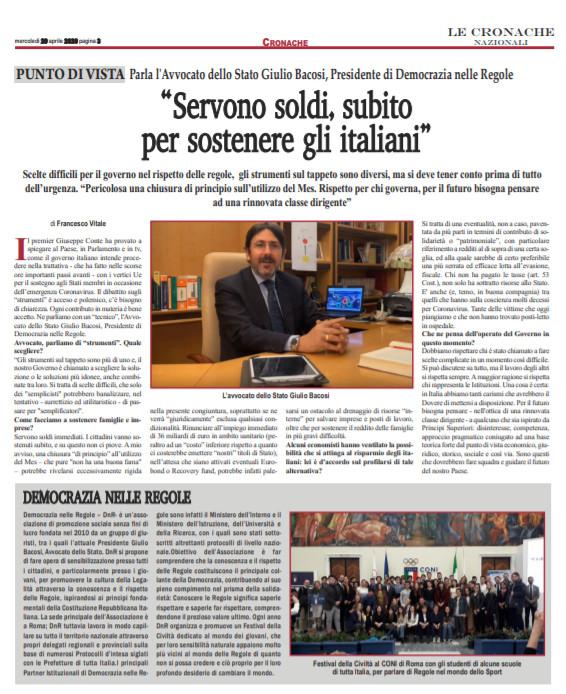 Servono soldi, subito, per sostenere gli italiani – Giulio Bacosi su CRONACHE NAZIONALI